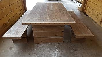 Amazon De Casa Padrino Gartenmobel Set Rustikal Tisch 2 Garten