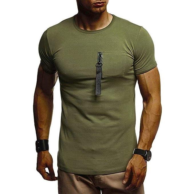 Camiseta y Camisa para Hombre de Moda 2019 AIMEE7 Ropa Hombre Camiseta Algod/ón Color s/ólido Casual de Manga Corta con Cuello Redondo Casual Deportiva de Primavera Verano y oto/ño