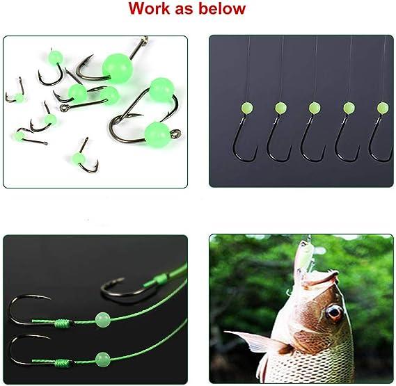 Fishing Lure Beads Glow in the Dark White Hard Plastic 1000pcs Size #8