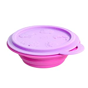 Toddler and Baby Collapsible Food Bowl with Lid, Purple by Marcus & Marcus
