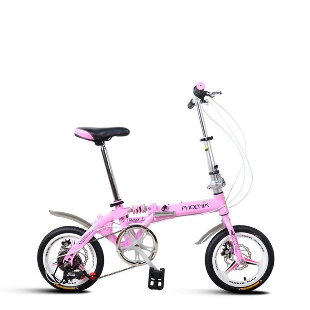 折りたたみ自転車 折り畳み 14インチ 単速 6段変速 通学 アウトドア 通勤や街乗りに最適 小径自転車 YA811 B078MGN57Tピンク(変速) 14インチ