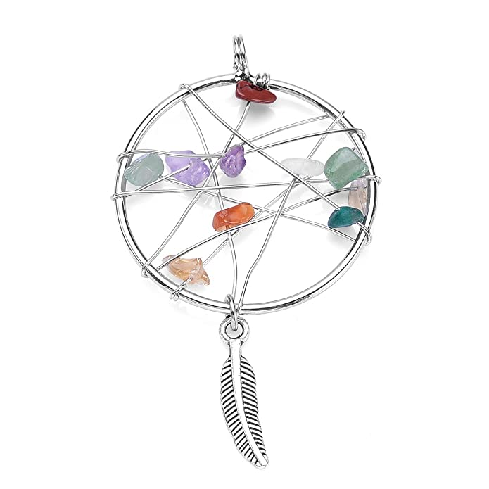 Jovivi 7 Chakra Gemstones Dream Catcher Dreamcatcher Wire Wrapped Healing Crystal Feather Pendant Necklace,Mothers Day Gifts