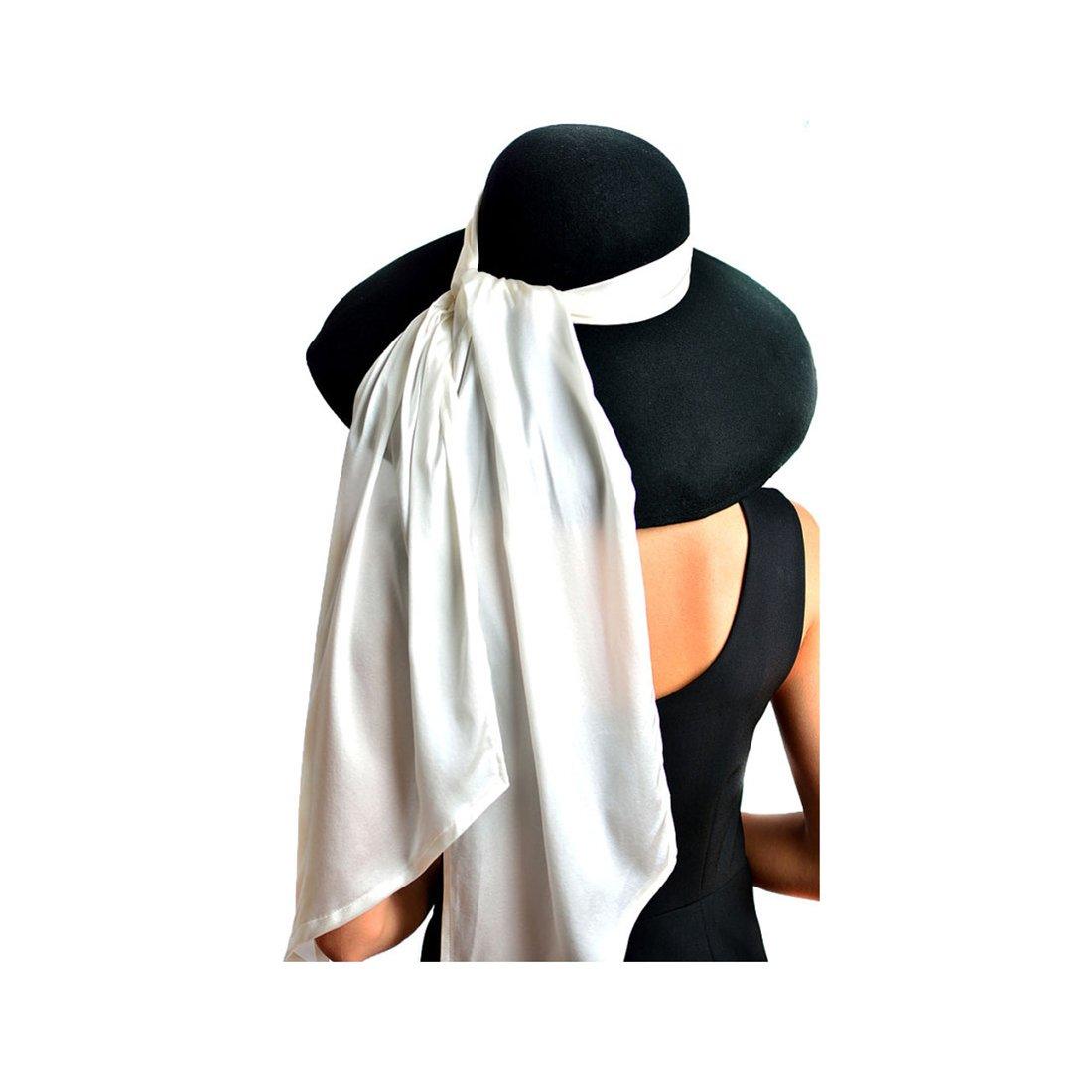 Utopiat Hat, Audrey Hepburn Breakfast at Tiffany's, Oversized, Premium Wool, Black by Utopiat