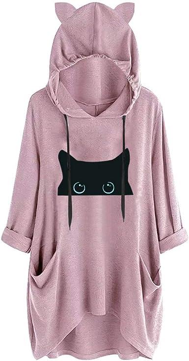 Casual Womens Print Cat Hooded Long Sleeves Pocket Irregular Top Blouse Shirt