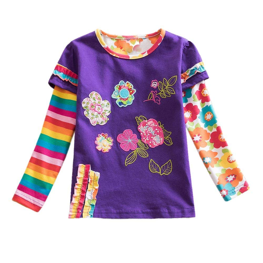Clothes for Toddler Baby Kids Girls Floral Stripe Rainbow Print Pullover Tops Clothes Children Long Sleeve Cartoon Vest Blouse For Toddler Baby Kid Girl Infant T Shirt Holiday Outdoor (Purple, 6-7Y)