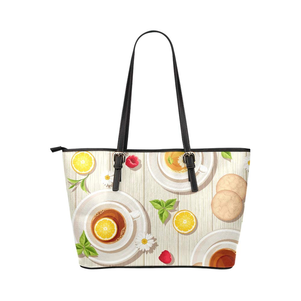 Relax Cups Tea Time Drink Art Large Soft Leather Portable Top Handle Hand Totes Bags Causal Handbags With Zipper Shoulder Shopping Purse Luggage Organizer For Lady Girls Womens Work
