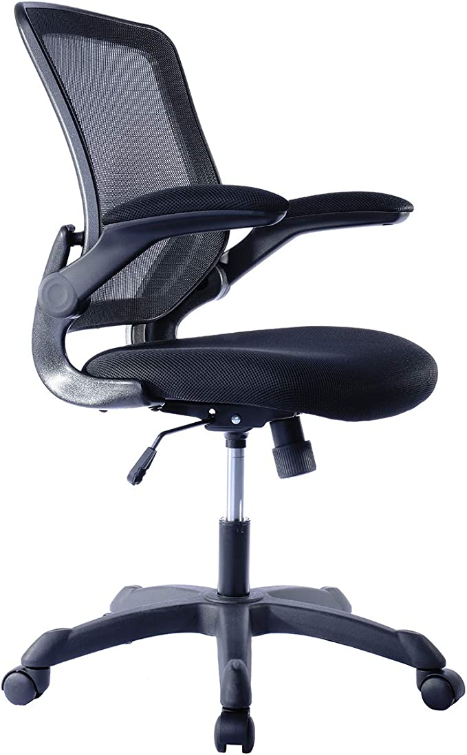 Mesh Task Office Chair With Flip Up Arms Color Black Furniture Decor