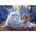 5Dダイヤモンドの絵画 壁の装飾ギフト、クロスステッチキットダイヤモンド絵画アートクラフト クリスタルのラインストーンの刺繍の写真 白いライオンとエルフ 30×40CM