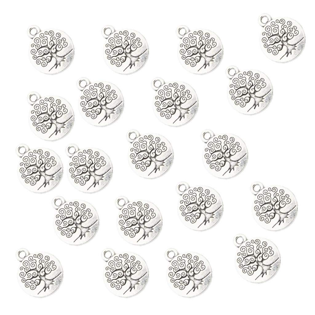 Prettyia 20 Pieces Vintage Tree of Life Pendant Beads Charms Pendants for Crafting Making 1.5x1.5cm