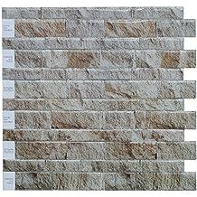 "Crystiles Peel and Stick DIY Backsplash Tile Stick-on Vinyl Wall Tile, Perfect Backsplash Idea for Kitchen n Bathroom Décor Project, Weathered Slate, Item #91010862, 10"" X 10"", One Sheet Sample"