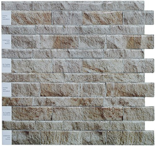 "Peel and Stick DIY Backsplash Tile Stick-on Vinyl Wall Tile, Perfect Backsplash Idea for Kitchen n Bathroom Décor Project, Weathered Slate, Item #91010862, 10"" X 10"" Each, 6 Sheets Pack"