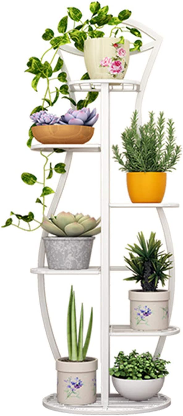 KWOPA Multi-Tier Metal Plant Stand,Home Decor Flower Potted Plant Holder,Stable Sustainable Plants Display Rack for Indoor Garden Balcony-White. 6-Tier