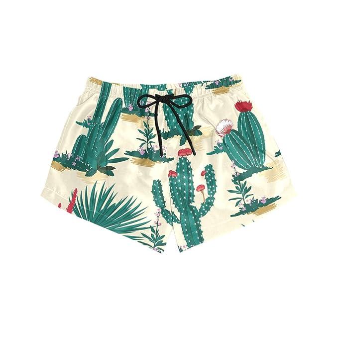 77fe35c8f2 CENHOME Women Swim Trunks Green Cactus Desert Red Flowers Beach ...