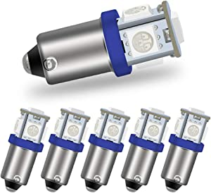 Luxvista BA9S 12V LED Bulb Blue - Super Bright BA9S Amber LED Bulb RV Turn Signal Bulbs for License Plate Light Reverse Light Brake Light Side Marker Light (6-Pack)