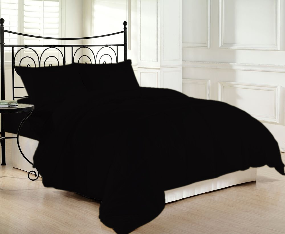 600 Thread Count Luxurious and Hypoallergenic 100% Egyptian Cotton Down Comforter Black Queen By Kotton Culture Solid (Cocoon Feel 200 GSM Summer Weight Microfibre filling)