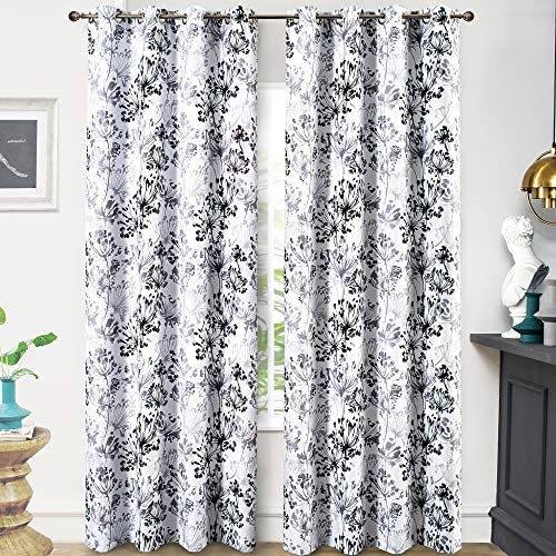 DriftAway Acacia Floral Blossom Watercolor Printed 100 Percent Blackout Room Darkening Thermal Insulated Grommet Window Curtains 2 Panels Each Size 50 Inch