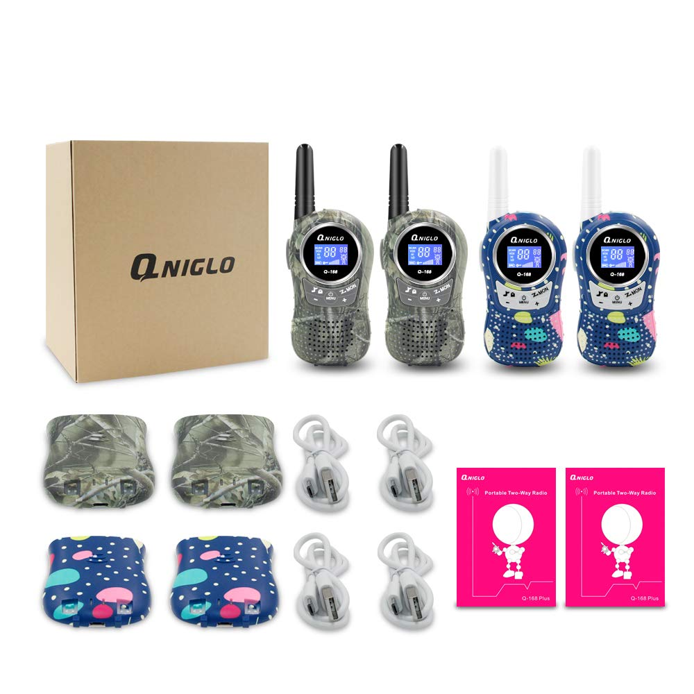 QNIGLO Rechargeable Walkie Talkies, 22 Channel FRS Two Way Radio Long Range Walkie Talkies for Kids Adults (Camo Blue+Camo Green, 4 Pack) by QNIGLO (Image #6)