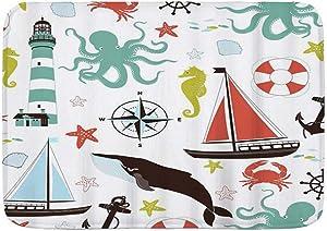 """LZHANDA Bathroom Rug Carpet Non Slip,Ocean Shark and Sailboat Octupus Shells Seahorse Anchor Starfish,Microfiber Modern Bath Rugs Soft Bath Mat,29.5"""" X 17.5"""""""