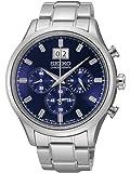 Seiko Chronograph Metallic Blue Dial Stainless Steel Mens Watch SPC081