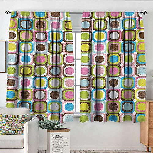 All of better Retro Custom Curtains Abstract Grunge Background with Geometric Cubes Inner Circles Artful Graphic Design Customized Curtains 55