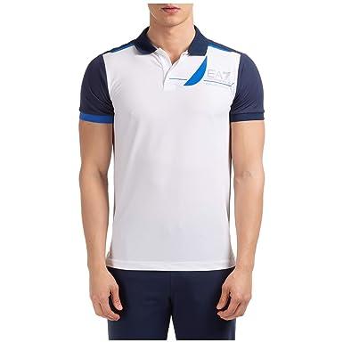 Emporio Armani EA7 Hombre Polo White - Navy Blue M: Amazon.es ...