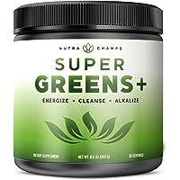 Super Greens + Premium Superfood Powder - 20+ Organic Green Veggie Whole Foods - Wheat Grass, Spirulina, Chlorella & More - Antioxidant, Digestive Enzyme & Probiotic Blends | Vegan Juice Supplement