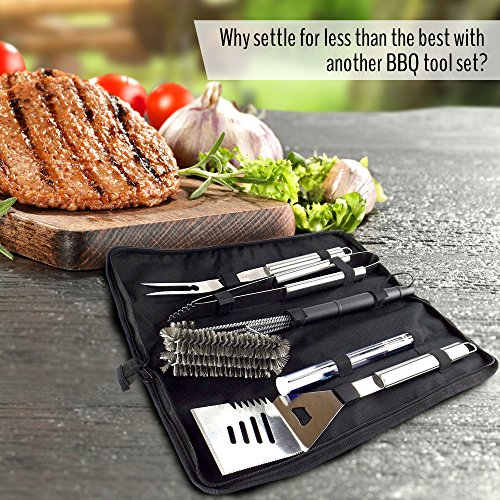 Bbq grill set with 5 barbecue tools spatula tongs for Pretty garden tools set