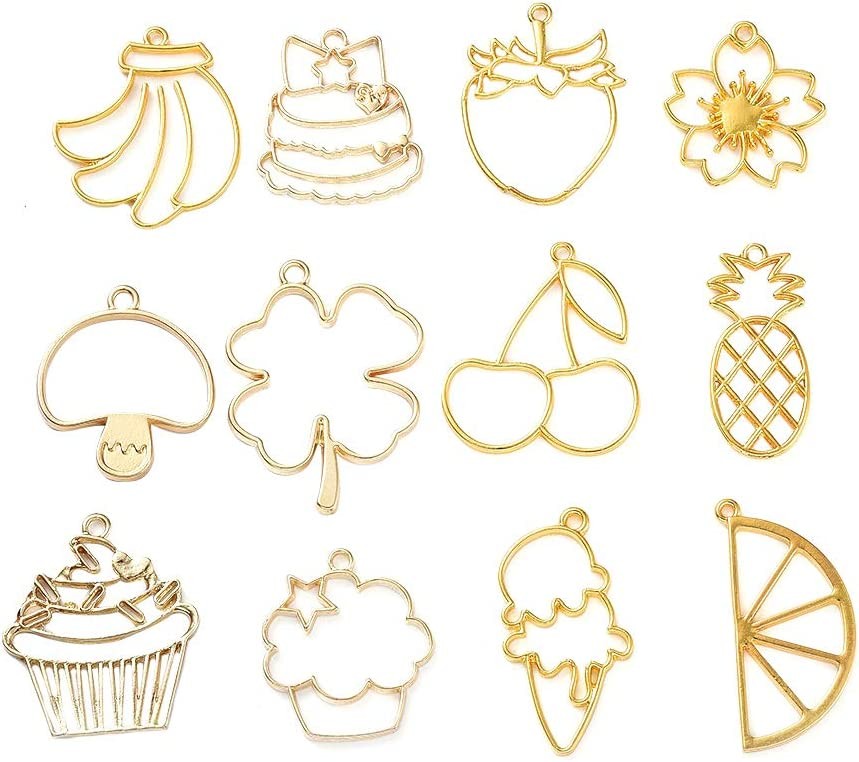 CHGCRAFT 12pcs/Set Zinc Alloy Open Back Bezel Pendants Flat Round Hollow Cute Food and Plant Resin Frame Pendant for Resin Earrings Necklace Bracelet Jewelry Making, Golden