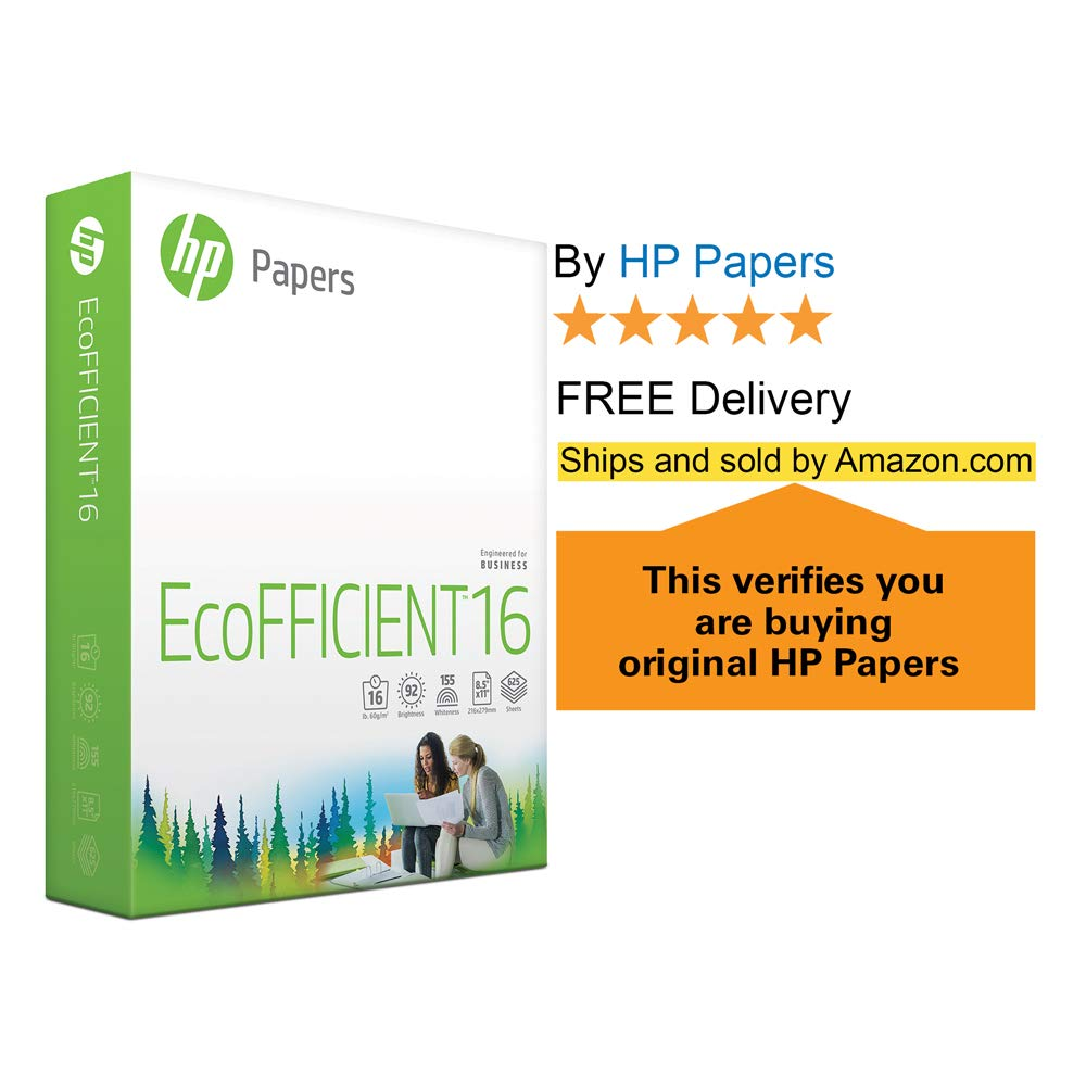 EcoFFICIENT18 Paper 088400C 8.5 x 11 Paper 3 Ream Case // 1,500 Sheets HP Printer Paper 18lb Paper Acid Free Paper Letter Size 92 Bright