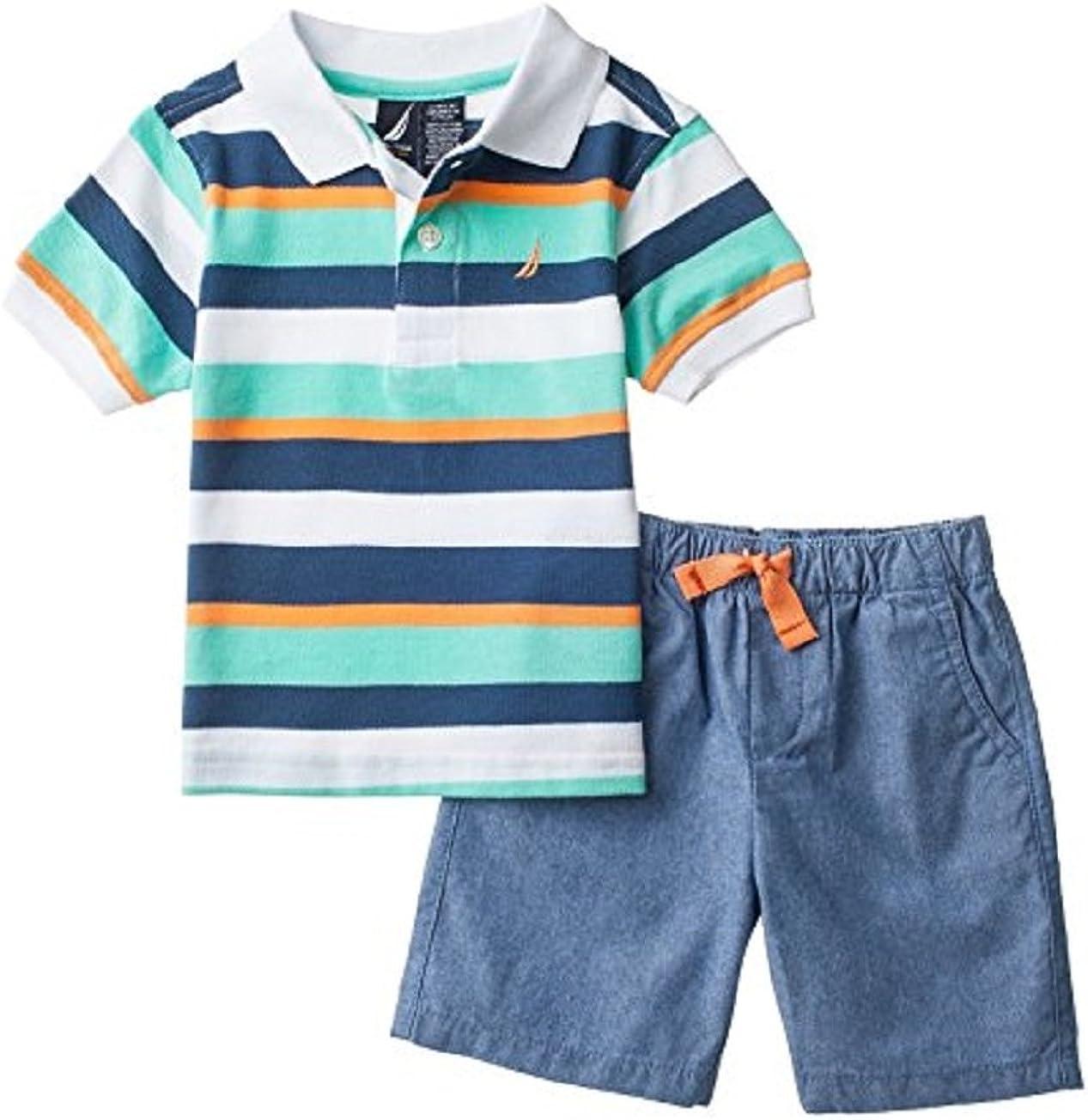 stripes summer clothes vacation 24 months baby Toddler shorts handmade unisex neutral boy girl blue grey ocean fish boat swim beach