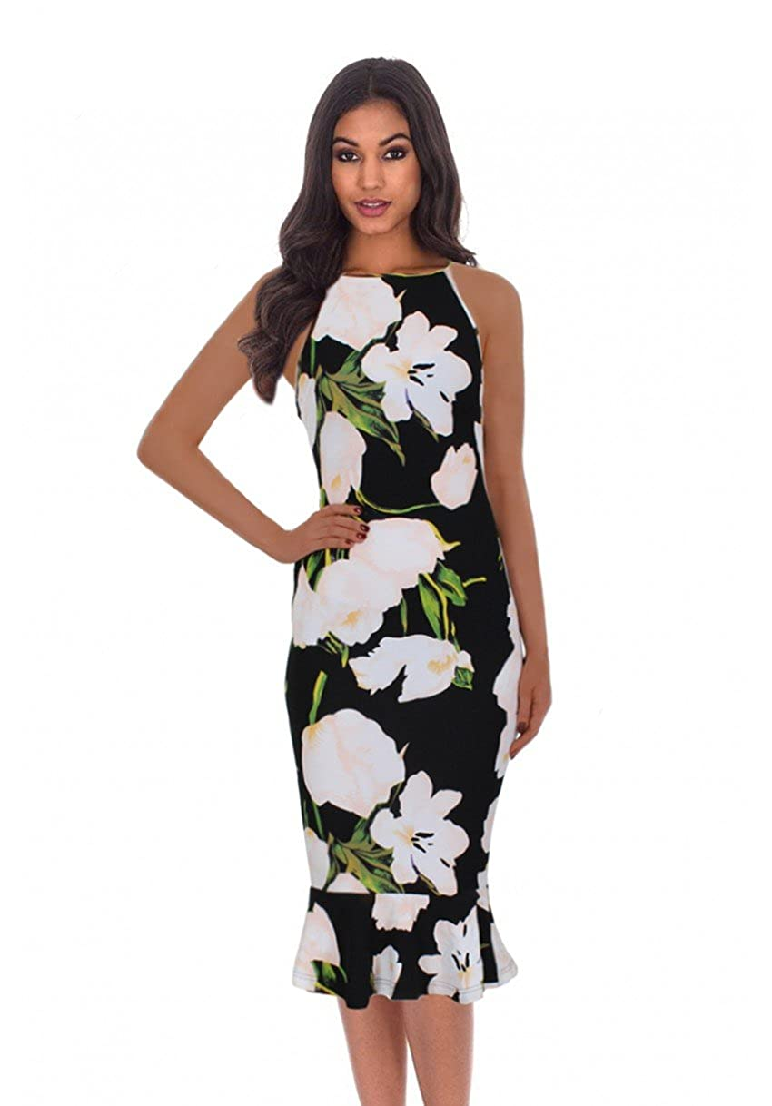 552d64621502 Feel amazing in our black floral midi dress featuring a super cute fish  tail hem you simply can not go wrong with this curve hugging number! Color:  Black