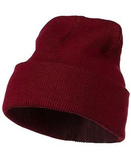 12 Inch Long Knitted Beanie - Maroon OSFM