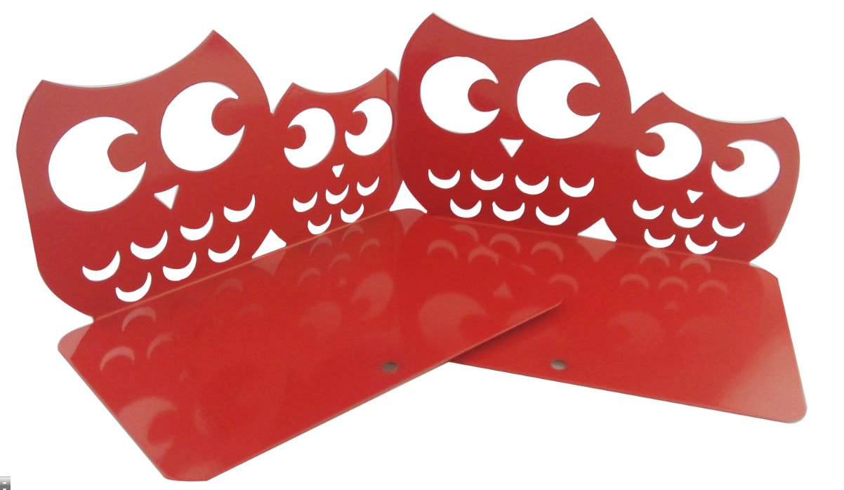 Perfect Mother's Day Gift One Pair Creative Cute Nonskid Owl Animal Art Bookends for Kids Girls Birthday Gifts (Red)