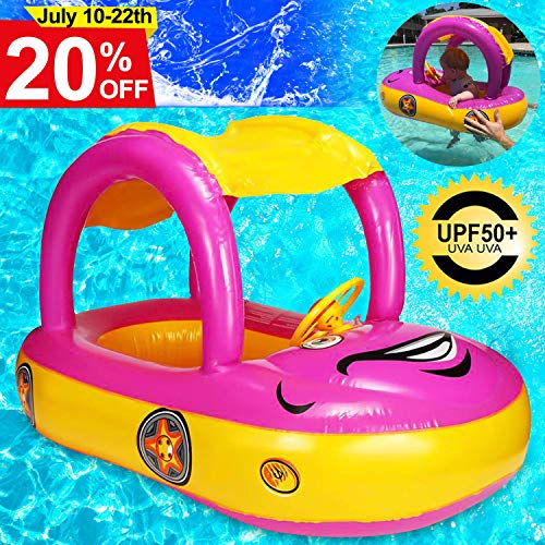Baby Swim Float with Canopy, Car Shaped Inflatable Swimming Ring Boat with Sunshade for Boys Girls Toddler Infant Float for Pool Floating Cute Boat Summer Outdoor Play (Fit 3-36 Months, ()
