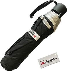 Salzmann 晴雨兼用折りたたみ傘(ブラック)3M スコッチライト素材使用 コンパクト UPF50+ 紫外線防止加工済み