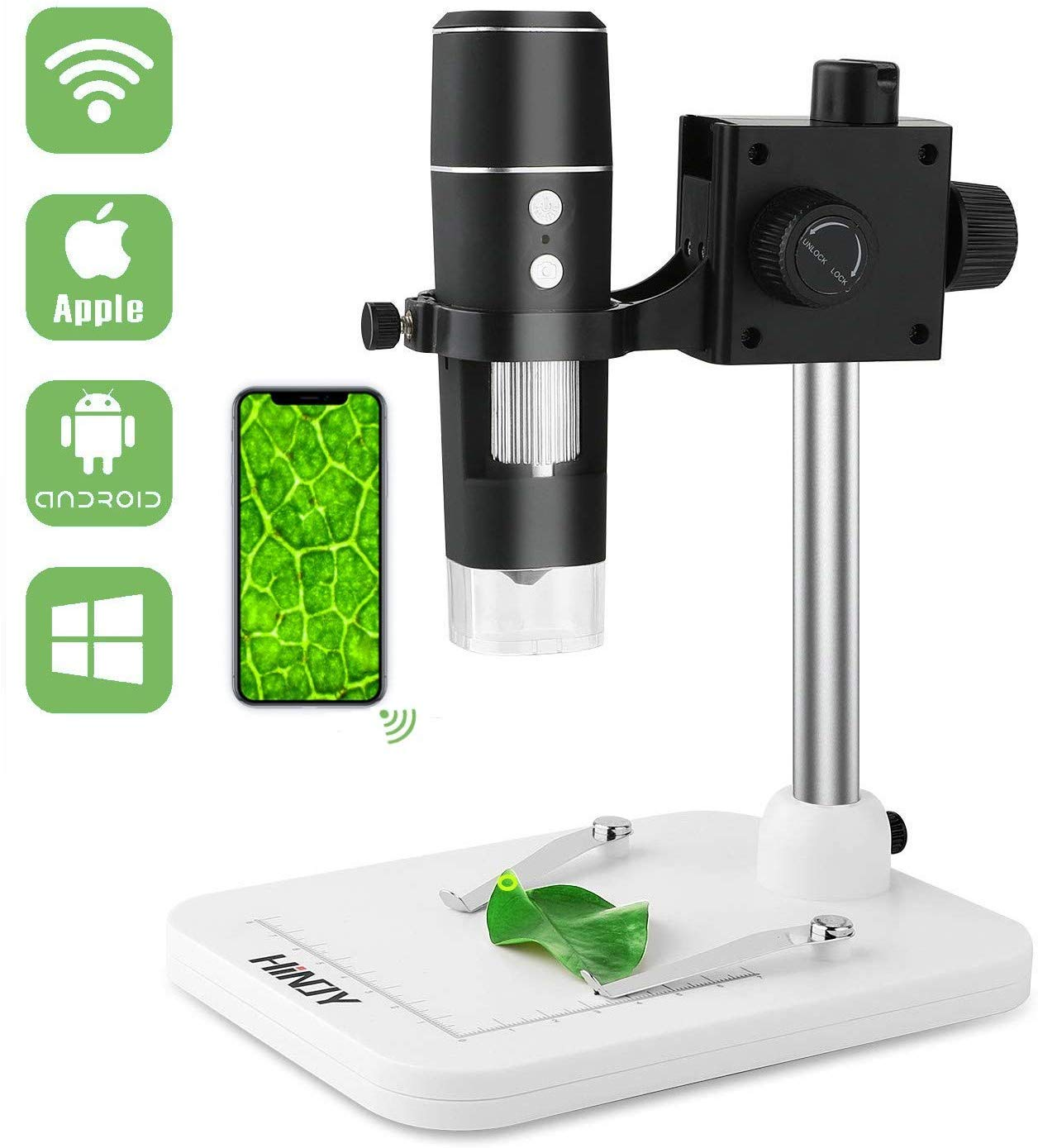 HINOY WiFi Digital Microscope, Portable Wireless USB Microscope Camera, 50x to 1000x Magnification Kids Handheld Microscope Endoscope for iPhone, Android, Windows & MAC Devices by HINOY