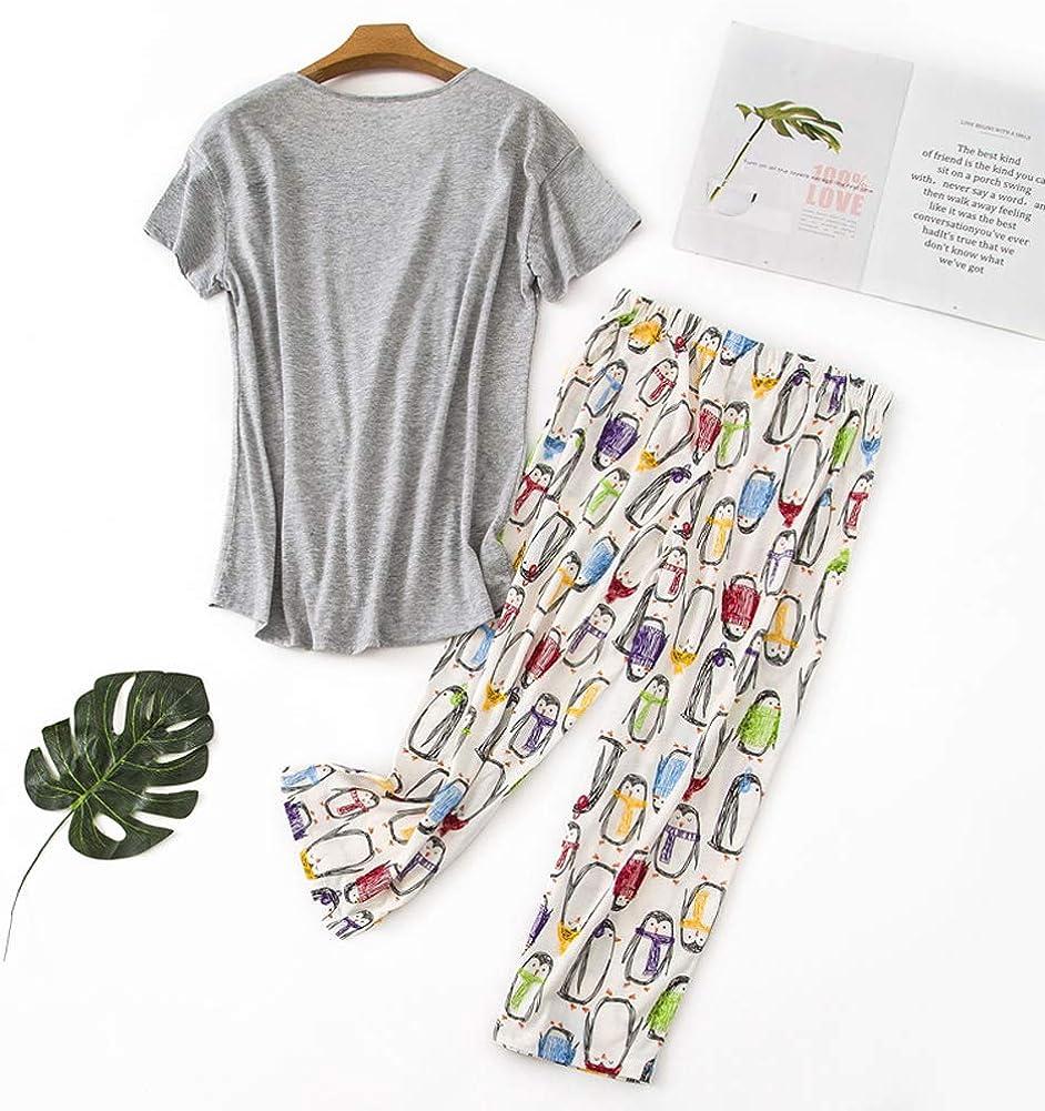 Rojeam Ensemble de Pyjama d/écontract/é pour Femmes avec Shorts Chemises /à Manches Courtes et Pantacourt
