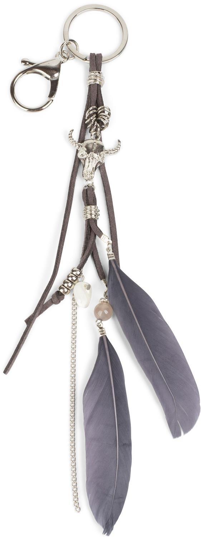 plumes styleBREAKER porte-cl/és avec mousqueton bandeaux cr/âne /à corne couleur:Bleu fonc/é femme 05050056 perles et cha/înes