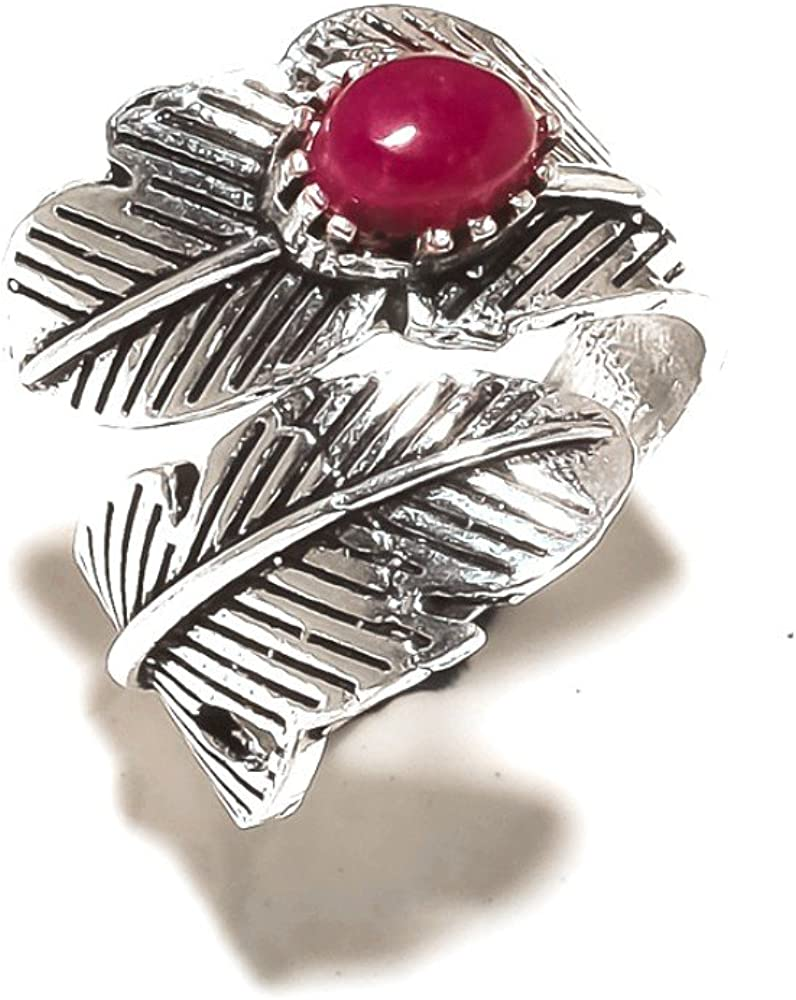 Trending Gift Girls Red Coral Sterling Silver Overlay Ring Size 7 US Handmade Jewelry