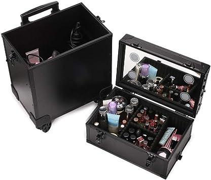 Maleta Maquillaje Profesional con Ruedas Maletín para Maquillaje de Gran Capacidad Estuche de Cosméticos con Espejo y 4 Regulables Bombillas de LED (Color : Black): Amazon.es: Equipaje
