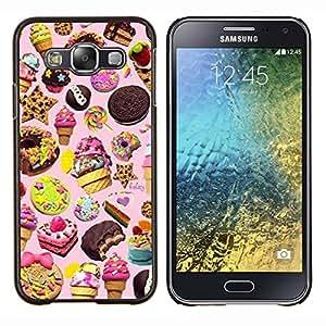 Sucreries Ice Cream Cookie Rose - Metal de aluminio y de plástico duro Caja del teléfono - Negro - Samsung Galaxy E5 / SM-E500