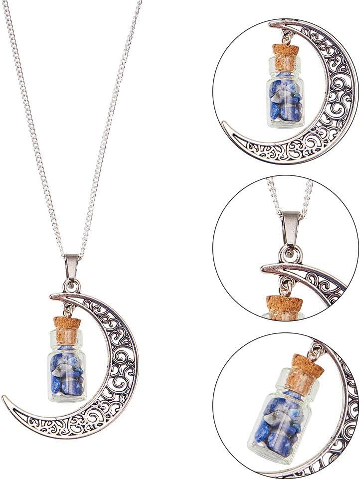 NBEADS Botella de Cristal de Columna con Piedras Preciosas En El Interior de Los Colgantes, con Revestimiento de Aleación de Luna Y Puntas de Acero Inoxidable 304, 41 X 29 X 10 Mm, Agujero: 7 X 4 Mm