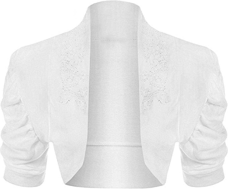 Girlzwalk Women's Plus Beaded Ruched Cap Sleeve Shrugs Sequin Bolero Short Crop Cardigan Top 14/16, 18/20, (14-16, White)