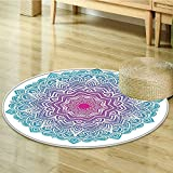 Mandala Circle carpet Decor by Nalahomeqq Round Floral Starry Pattern with Soft Aqua Color Spiritual Meditation Theme Zen Art Bedroom Living Room Dorm Wall Hanging Circle carpet-Diameter 130cm(51'')