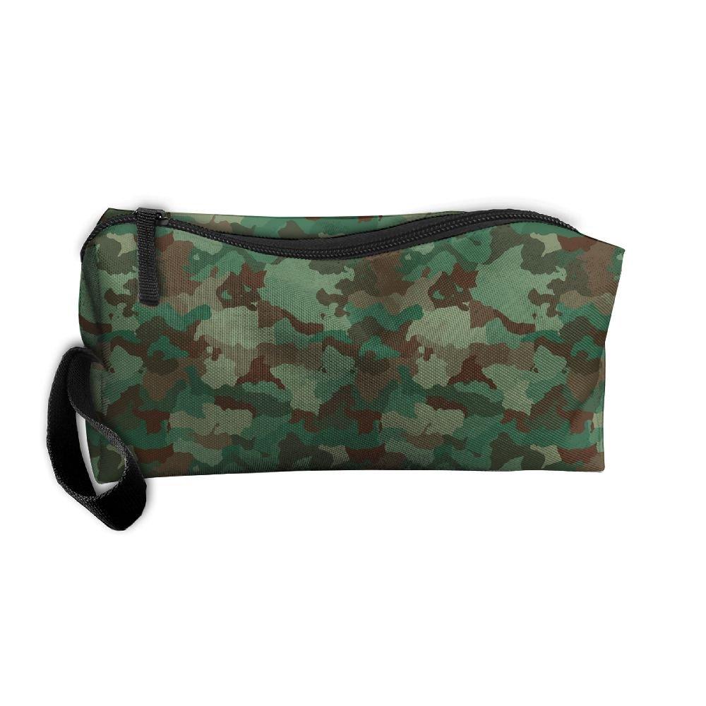 コスメティックバッグブラシポーチメイクアップバッグGreen Army迷彩ジッパー財布Hangbag Carryケースペンオーガナイザーリストレットホルダー   B0796M2VJG