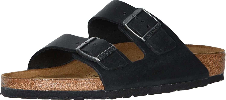 | BIRKENSTOCK Arizona - Oiled Leather (Unisex) Black Oiled Leather | Mules & Clogs