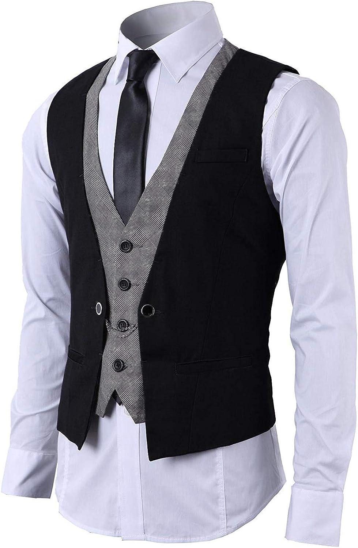 STTLZMC Hombre Chaleco de Traje Blazers Waistcoat sin Manga 2in1 Formal Boda Ceremonia