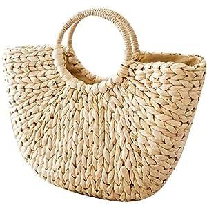 Bolso de mimbre de OneMoreT, perfecto para la playa, ideal para verano, estilo retro: Amazon.es: Instrumentos musicales