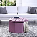 Inspired Home Silvia Mauve Velvet Storage Ottoman – Cocktail Coffee Table | Upholstered Tufted | Modern Octagon