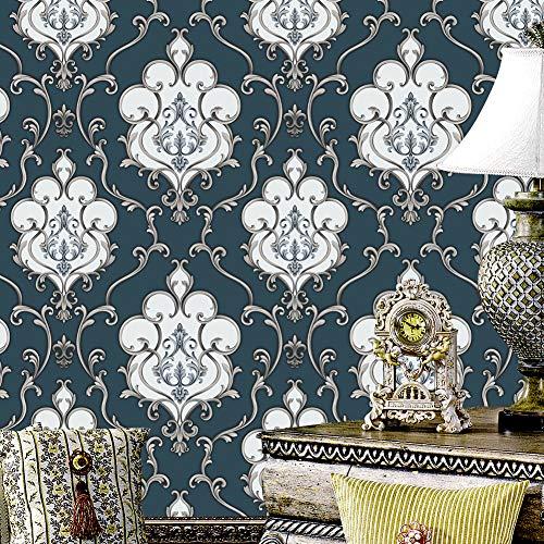 7247 Gray/Blue/Silver Damask Wallpaper Rolls, Metal Lace Texture Embossed Vinyl Wallpaper Bedroom Living Room Hotel Wall Decoration 20.8
